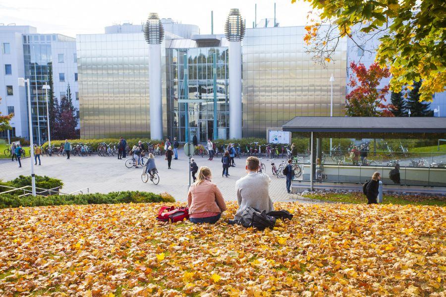 Kaksi nuorta istuu keltaisella lehtimatolla selin kemraan päin. Taustalla on moderni yliopistorakennus.